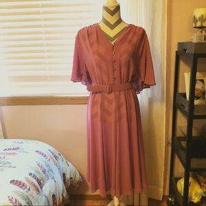 •Vintage 70s/ Pink Sheer Dress•